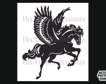 Pegasus Cross Stitch, Pegasus Silhouette, Cross Stitch, Silhouettes, Horse Silhouette, Horse, Pegasus from NewYorkNeedleworks on Etsy