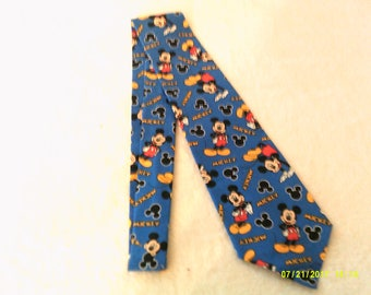 necktie  or clip on tie made from Mickey Mouse on Blue cotton fabric, adult, teen, fathers day gift, tie, suit, wedding, groomsmen