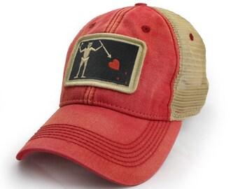 Blackbeard Pirate Flag Trucker Hat, Nautical Red