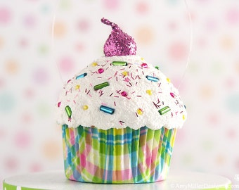 Fake Cupcake Decoration / Ornament Pastel Plaid #CUP216