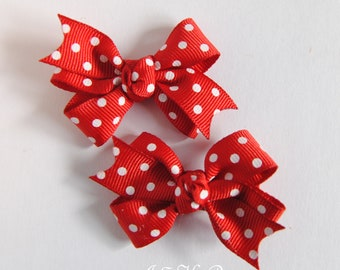 Red and white polka dot hair bow, polka dot hair bow, hair bow set, hair clips, small hair bows, toddler hair bows, baby bows, red hair bow