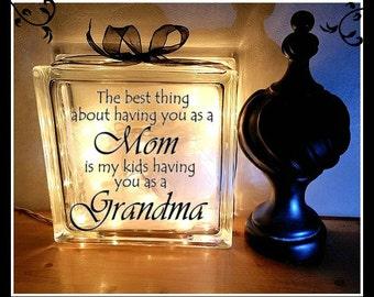 Grandma Block, 8 x 8, Glass block, Night light, Mother's Day Gift, Grandmother Gift, Grandmother, Grandma