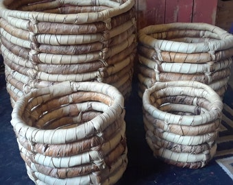 Vintage Thick Woven Nesting Baskets- Set of 4 Baskets