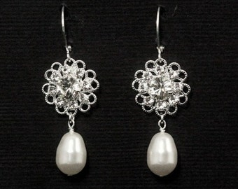 Crystal Pearl Bridal Earrings, Rhinestone Drop Earrings, Pearl Bridal Jewelry, Wedding Jewelry -- BRIGITTE