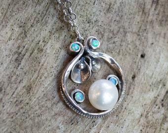Unique silver necklace, pearl pendant, blue opal pendant, stones necklace, casual necklace, boho chic necklace, hippie - Suddenly N4637