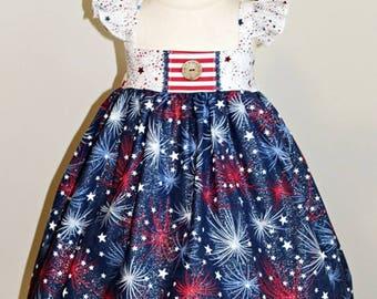 Girls Custom Boutique Flutter Sleeve Fireworks Dress- Toddler Girls- Patriotic Dress- Baby Girls- Star dress- 6m 12m 18m 2t 3t 4t 5t 6 7 8