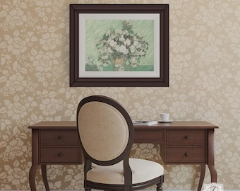 Large Flower Rose Wall Stencils - Decorating a Classic Feature Wall with Shabby Chic Farmhouse Wallpaper Mural Design