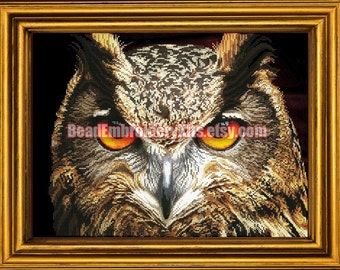 Wise Eagle-Owl DIY bead embroidery kit beaded painting craft set printed pattern needlework beadwork hobby