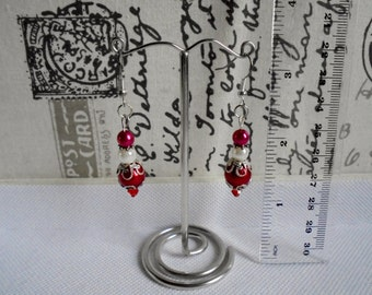 Red and white dangling earrings. Red and white bling earrings. Glass pearl and Czech crystal dangling earrings for pierced ears. Gift Idea.