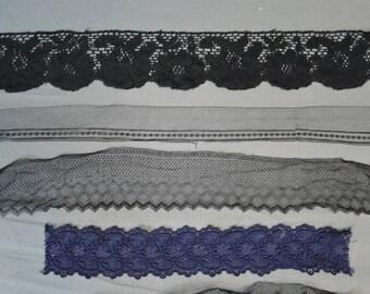 Vintage Lace Lot, Black Silk Lace, Navy Cotton Lace, 5 pieces Antique Lace Remnants