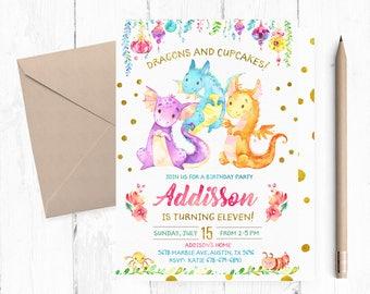 Dragon Birthday Party Invitations, Dragon Birthday Party Invitation, Dragon Birthday Invites, Dragon Birthday Invitation Printable, Dragons,