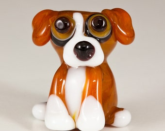 SALE - Tan Beage Mix Lampwork Dog Bead