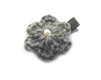 Gray Hair Clip Gray Crochet Flower Hair Clip Crochet Alligator Clip Gray Crochet Hair Clip Baby Girl Hair Clip Toddler Girl Gray Flower