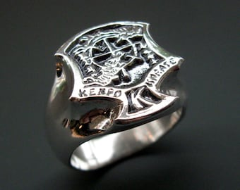 NEW Kenpo Karate IKKA Crest Ring is Sterling Silver or 14k Gold