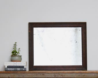Vintage Antique Wall Mirror Dark Wooden Frame Tarnished Spotted Antique Silver Rectangle Rectangular Wood Frame