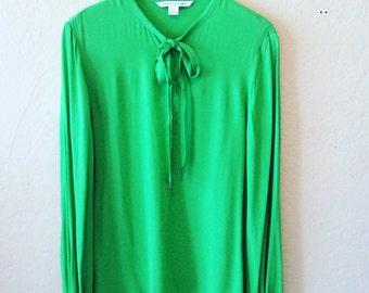 Diane Von Furstenberg Puffed Sleeve Brilliant Green Blouse