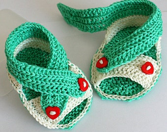 Knitting Pattern (PDF file) Baby Cross Straps Sandals (sizes 0-6/6-9/9-12 months)