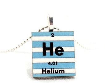 Science Necklace Chemistry Jewelry - Periodic Table Nerd Geek Stripes Charm Pendant - Personalized Custom Jewelry