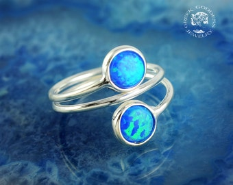 opal silver ring, opal ring, blue opal ring, opal jewelry, blue opal, silver ring, greek ring, greek jewelry, dainty ring, delicate ring