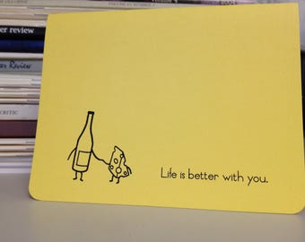 Wine and Cheese Card for Love or Friendship