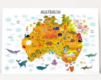 australia map printable wall art digital download up to 36x54 nursery decor travel nursery sydney australia poster playroom decor