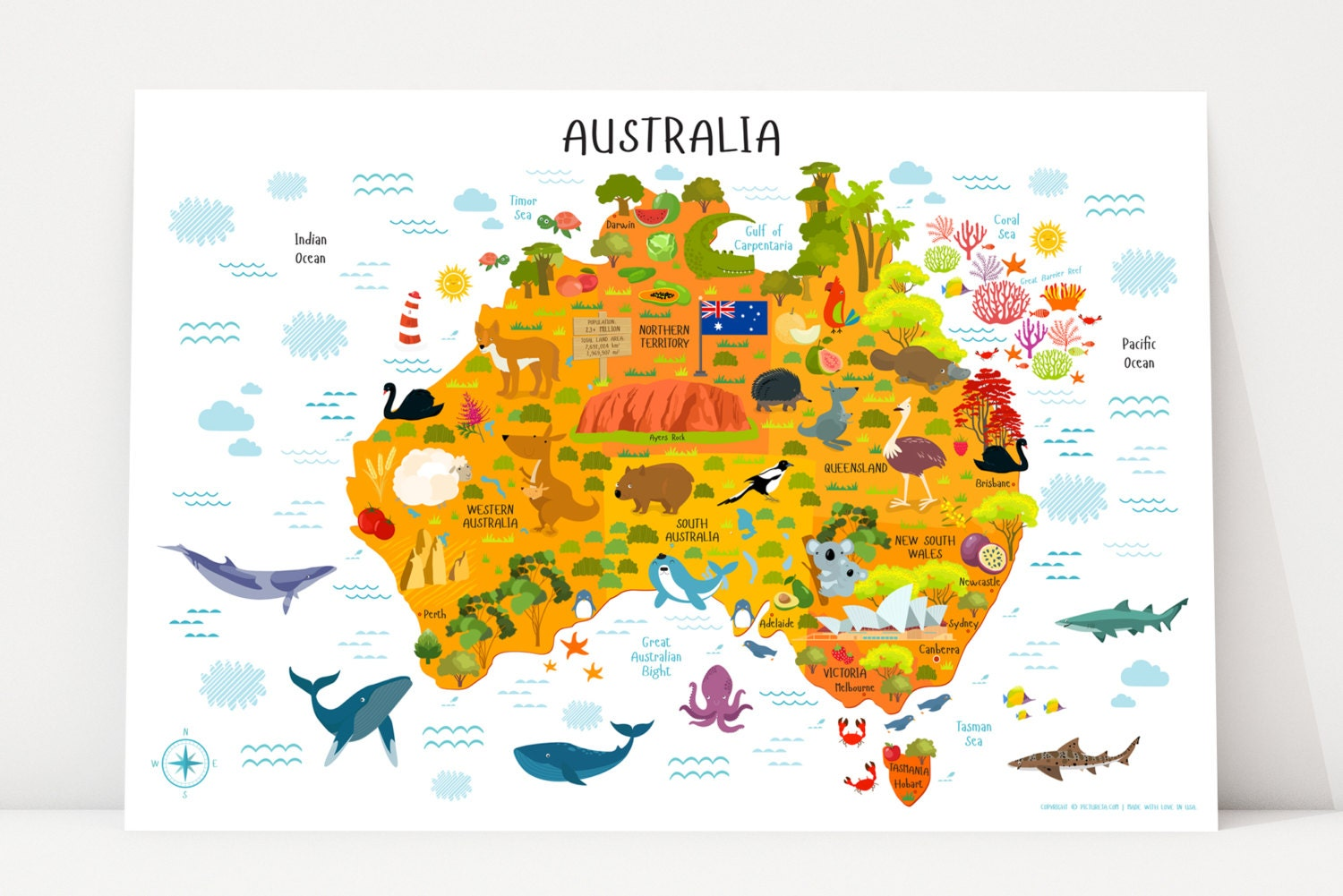 Map of Australia Travel Nursery Australia Map Poster