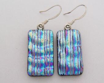 Dichroic glass dangle earrings