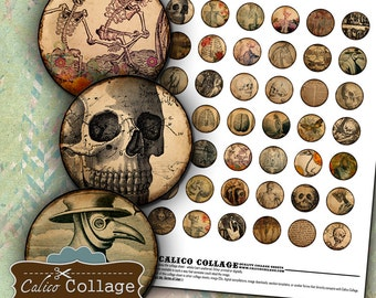 Macabre 1 inch Circles, Bottlecap Images, Digital Collage Sheet,  Halloween Images, Images for Cabochons, Vintage Macabre, Macabre Images