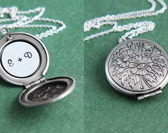 Initial Necklace, Locket Necklace, Personalized Necklace, Silver Locket Necklace, Anniversary Necklace, Monogram Necklace, Gift for Sister