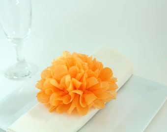 60 Tissue Paper Flower Napkin Rings, Wedding Reception Decor, Table Place Setting, Outdoor Garden Party, Rose (YOU PICK COLORS)
