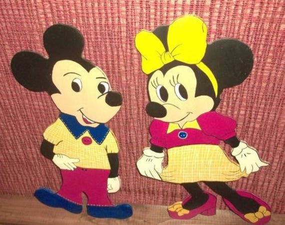 Vintage Set Handmade Mickey and Minnie Mouse Wood Painted Wall