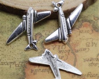20pcs Airplane Charms silver tone Mini Aircraft plane charm pendants 22x15mm ASD0440