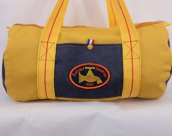 yellow organic duffel bag