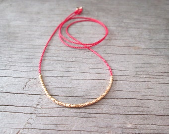 delicate GOLD NUGGETS necklace on a red silk cord Karen Hill Tribe vermeil faceted beads layering friendship