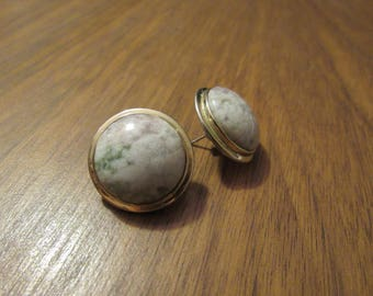 Vintage Earth Tone Pierced Back Earrings // Vintage Jewelry