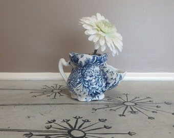 Old Shaving Cup Soap Dish Flower Vase Frog Blue and White Floral Decor Hand Engraved Old Foley Chrysanthemum James Kent Mug