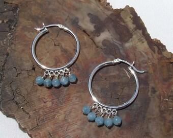 Aquamarine Earrings, pastel blue beaded sterling hoops, March birthstone