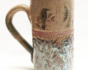 Ceramic raven mug 18oz. stoneware 18C084
