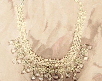 bridal necklace choker seed bead and crystal hand woven - Leora