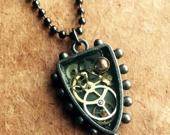 Clockwork Crest - Shield - Arrowhead -  Steampunk - Watch parts - Vintage - Clock - Gears - Victorian - Pendant - Necklace  - Antique