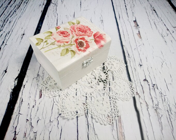 Bridesmaid gift flower box decoupage wooden trinket personalized white red poppies wedding thank you favor