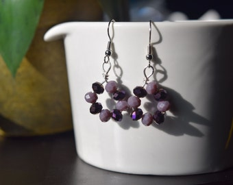E-28 Purple glass bead earrings silver, handmade jewelry, dangle and drop, summer earrings, gifts for her, fashion jewelry, wire wrapped