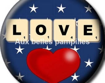 Round cabochon resin 25 mm - craft love (1434) - text, humor, Valentines, love