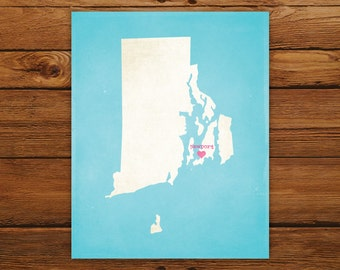 Customized Printable Rhode Island State Map - DIGITAL FILE, Aged-Look Personalized Wall Art