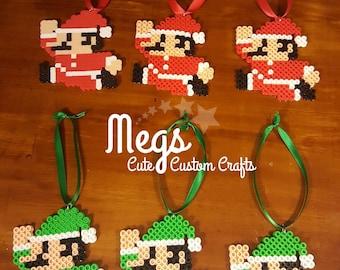 Perler Bead Art - Santa Mario & Luigi Ornament