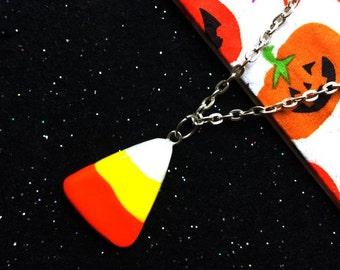 Handmade candy corn necklace Halloween necklace Halloween jewelry Candy necklace Candy jewelry Food jewelry Food necklace Halloween gift