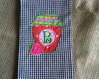 Personalized Embroidered/applique Strawberry Jam Tea Towel