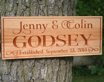 Couples Name Sign, Anniversary Gift For Her, Carved Wooden Sign, Anniversary Gift, Couples Gift, Benchmark Custom Signs, Cherry WJ
