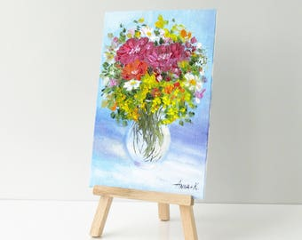 Flower art Small flower painting Art gifts Still life painting Wildflowers art Gift for mother Birthday gift for her Small easel painting