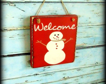 Snowman Sign, Winter Decor, Front Door Sign, Porch Decor, Small Welcome Sign, Snowman Decor, Winter Welcome, Holiday Sign, Red Decor